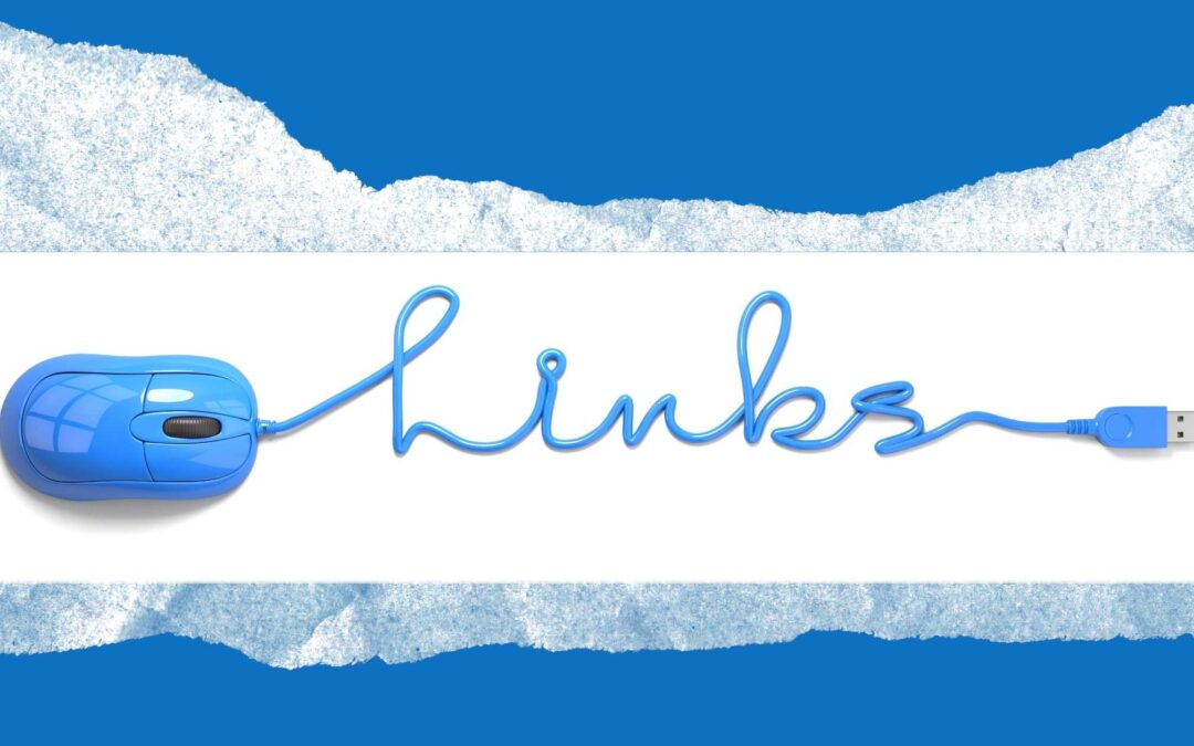 link building strategies image of strip of paper over blue background with mouse cord twisted to write links in cursive